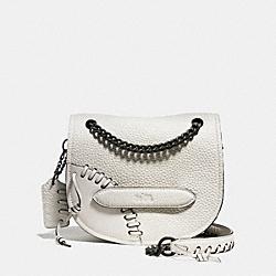 COACH RIP AND REPAIR SHADOW CROSSBODY IN LEATHER - BLACK COPPER/WHITE - F36976