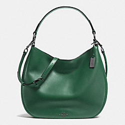 COACH NOMAD HOBO IN GLOVETANNED LEATHER - f36997 - BLACK ANTIQUE NICKEL/RACING GREEN