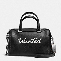 WANTED SURREY SATCHEL IN LEATHER - f37010 - LIGHT ANTIQUE NICKEL/BLACK