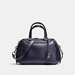 ACE SATCHEL IN GLOVETANNED LEATHER - f37017 - LIGHT ANTIQUE NICKEL/DK INDIGO