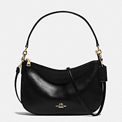 CHELSEA CROSSBODY IN SMOOTH CALF LEATHER - f37018 - LIGHT GOLD/BLACK