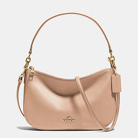 COACH f37018 CHELSEA CROSSBODY IN SMOOTH CALF LEATHER LIGHT GOLD/BEECHWOOD