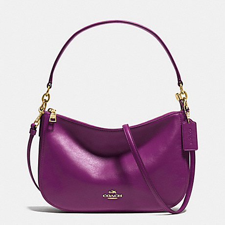 COACH f37018 CHELSEA CROSSBODY IN SMOOTH CALF LEATHER LIGHT GOLD/PLUM