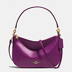 CHELSEA CROSSBODY IN SMOOTH CALF LEATHER - f37018 - LIGHT GOLD/PLUM