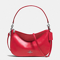 CHELSEA CROSSBODY IN SMOOTH CALF LEATHER - f37018 - SILVER/TRUE RED