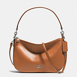 CHELSEA CROSSBODY IN SMOOTH CALF LEATHER - f37018 - SILVER/SADDLE
