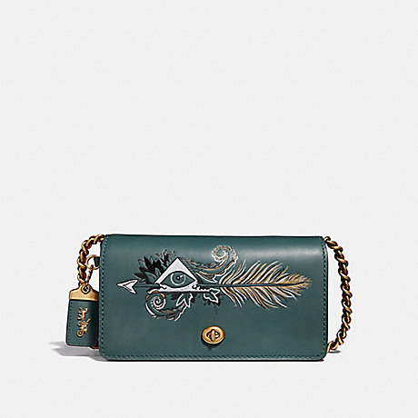 COACH DINKY WITH TATTOO - EVERGREEN/BRASS - F37054