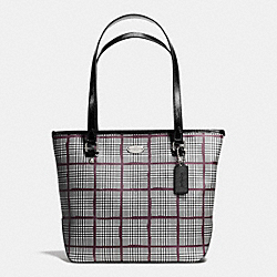 COACH ZIP TOP TOTE IN GLEN PLAID COATED CANVAS - SILVER/BLACK - F37057