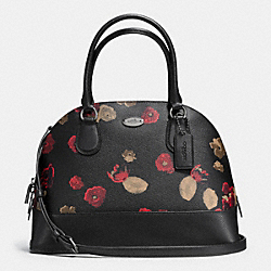 COACH CORA DOMED SATCHEL IN BLACK FLORAL COATED CANVAS - ANTIQUE NICKEL/BLACK - F37059