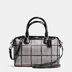COACH MINI BENNETT SATCHEL IN GLEN PLAID COATED CANVAS - SILVER/BLACK - F37061