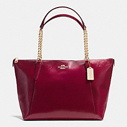COACH AVA CHAIN TOTE IN PATENT CROSSGRAIN LEATHER - IMITATION GOLD/SHERRY - F37078
