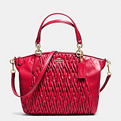 COACH SMALL KELSEY SATCHEL IN GATHERED TWIST LEATHER - IMITATION GOLD/CLASSIC RED - F37081