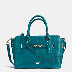 BLAKE CARRYALL IN CROC EMBOSSED LEATHER - f37099 - IMITATION GOLD/ATLANTIC