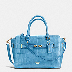 BLAKE CARRYALL IN CROC EMBOSSED LEATHER - f37099 - IMITATION GOLD/BLUEJAY