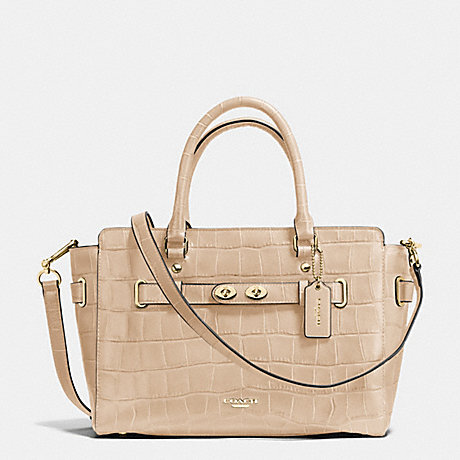 COACH f37099 BLAKE CARRYALL IN CROC EMBOSSED LEATHER IMITATION GOLD/BEECHWOOD