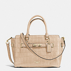 BLAKE CARRYALL IN CROC EMBOSSED LEATHER - f37099 - IMITATION GOLD/BEECHWOOD