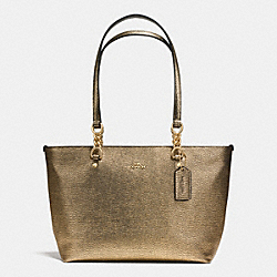 SOPHIA SMALL TOTE IN METALLIC PEBBLE LEATHER - f37117 - LIGHT GOLD/GOLD