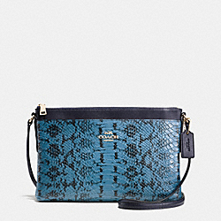 JOURNAL CROSSBODY IN COLORBLOCK EXOTIC EMBOSSED LEATHER - f37119 - LIGHT GOLD/NAVY