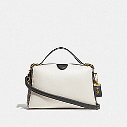 LAURAL FRAME BAG IN COLROBLOCK WITH SNAKESKIN DETAIL - B4/CHALK MULTI - COACH F37126