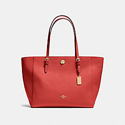 TURNLOCK TOTE IN CROSSGRAIN LEATHER - f37142 - LIGHT GOLD/CARMINE