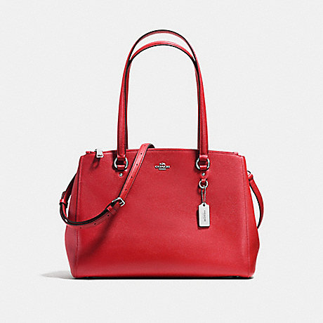 COACH f37148 STANTON CARRYALL IN CROSSGRAIN LEATHER SILVER/TRUE RED