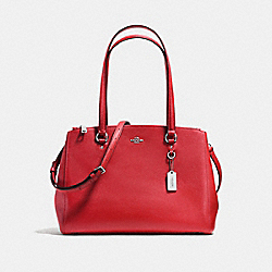 STANTON CARRYALL IN CROSSGRAIN LEATHER - f37148 - SILVER/TRUE RED