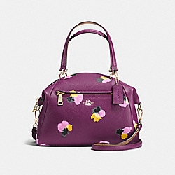 PRAIRIE SATCHEL IN FLORAL PRINT LEATHER - f37159 - LIGHT GOLD/PLUM/FIELD FLORA