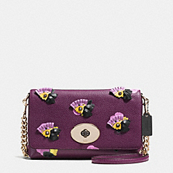 COACH CROSSTOWN CROSSBODY IN FLORAL APPLIQUE LEATHER - LIGHT GOLD/PLUM/FIELD FLORA - F37163