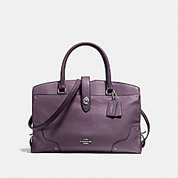 COACH MERCER SATCHEL IN GRAIN LEATHER - SILVER/EGGPLANT - F37167