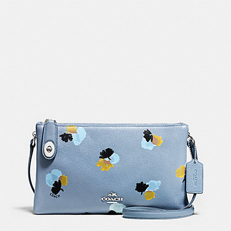 COACH f37170 CROSBY CROSSBODY IN FLORAL PRINT PEBBLE LEATHER SILVER/CORNFLOWER/FIELD FLORA