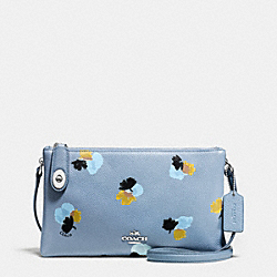 CROSBY CROSSBODY IN FLORAL PRINT PEBBLE LEATHER - f37170 - SILVER/CORNFLOWER/FIELD FLORA