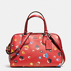 NOLITA SATCHEL IN FLORAL PRINT PEBBLE LEATHER - f37176 - SILVER/CARMINE/WILD PRAIRIE