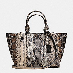 CROSBY CARRYALL IN PIECED EXOTIC EMBOSSED LEATHER - f37177 - DARK GUNMETAL/FOG MULTI