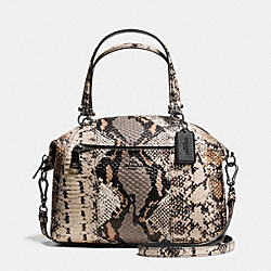 PRAIRIE SATCHEL IN PIECED EXOTIC EMBOSSED LEATHER - f37178 - DARK GUNMETAL/FOG MULTI