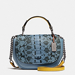 COACH COACH NOMAD TOP HANDLE CROSSBODY IN COLORBLOCK EXOTIC EMBOSSED GLOVETANNED LEATHER - DARK GUNMETAL/CORNFLOWER - F37181