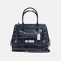 COACH COACH SWAGGER FRAME SATCHEL IN DENIM CROC-EMBOSSED LEATHER - SILVER/DENIM - F37183