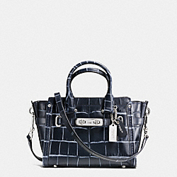 COACH SWAGGER 20 IN CROC EMBOSSED DENIM LEATHER - f37186 - SILVER/DENIM