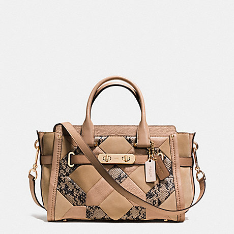 COACH f37188 COACH SWAGGER 27 IN PATCHWORK EXOTIC EMBOSSED LEATHER LIGHT GOLD/BEECHWOOD