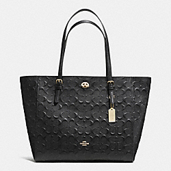 TURNLOCK TOTE IN SIGNATURE EMBOSSED LEATHER - f37191 - LIGHT GOLD/BLACK