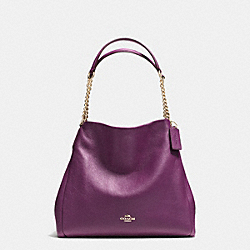 COACH PHOEBE CHAIN SHOULDER BAG IN PEBBLE LEATHER - IMITATION GOLD/PLUM - F37202