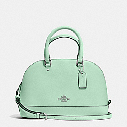 COACH MINI SIERRA SATCHEL IN CROSSGRAIN LEATHER - SILVER/SEAGLASS - F37217