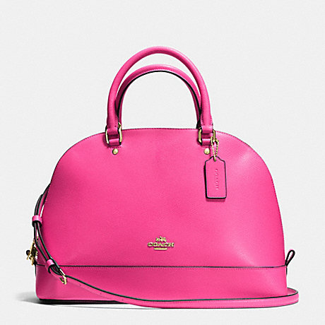 COACH f37218 SIERRA SATCHEL IN CROSSGRAIN LEATHER IMITATION GOLD/PINK RUBY