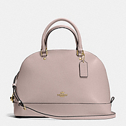 SIERRA SATCHEL IN CROSSGRAIN LEATHER - f37218 - IMITATION GOLD/GREY BIRCH