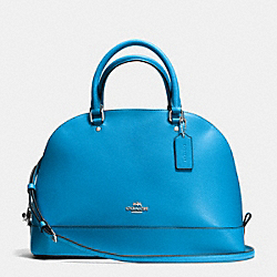 SIERRA SATCHEL IN CROSSGRAIN LEATHER - f37218 - SILVER/AZURE