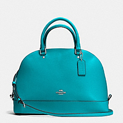 SIERRA SATCHEL IN CROSSGRAIN LEATHER - f37218 - SILVER/TURQUOISE