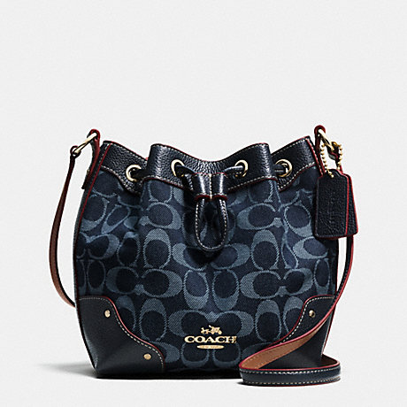 COACH f37227 BABY MICKIE DRAWSTRING SHOULDER BAG IN DENIM JACQUARD IMITATION GOLD/DENIM/MIDNIGHT