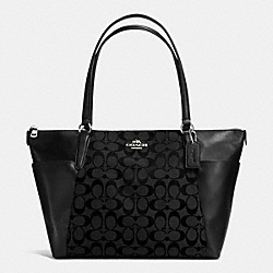 AVA TOTE IN SIGNATURE - f37231 - SILVER/BLACK/BLACK