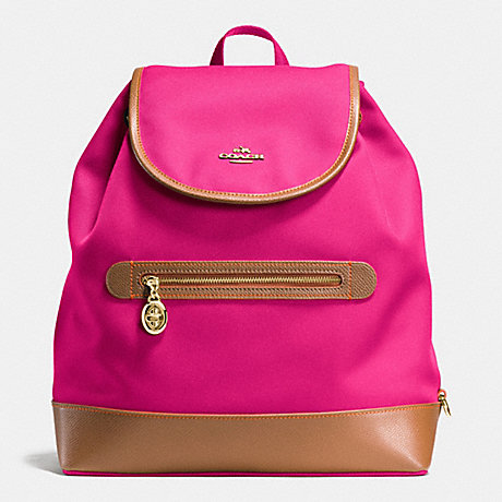 COACH SAWYER BACKPACK IN CANVAS - IMITATION GOLD/PINK RUBY - f37240