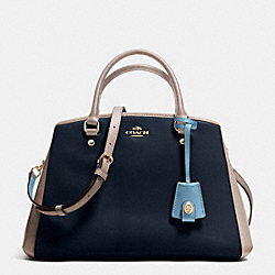 COACH SMALL MARGOT CARRYALL IN COLORBLOCK LEATHER - IMITATION GOLD/NAVY/GREY BIRCH - F37248