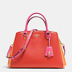 SMALL MARGOT CARRYALL IN COLORBLOCK LEATHER - f37248 - IMITATION GOLD/CARMINE MULTI